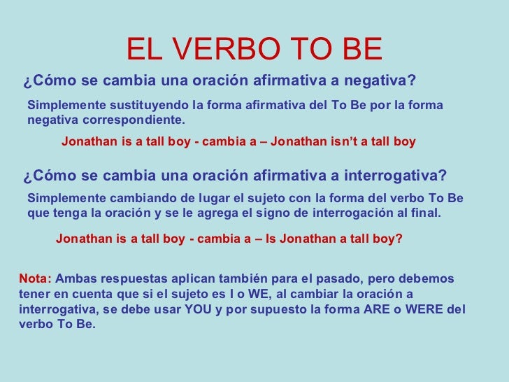 El Verbo To Be