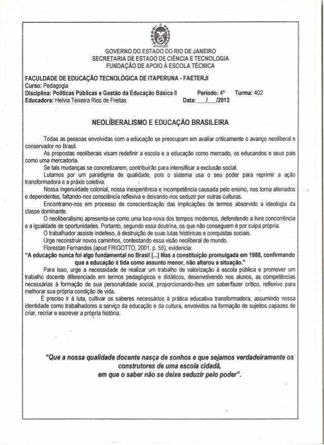 ~GOVERNO DO ESTADO DORIO DEJANEIROSECRETARIA DE ESTADO DE CIÊNCIA ETECNOLOGIAFUNDAÇÃO DEAPOIO À ESCOLA TécNICAFACULDADE DE...