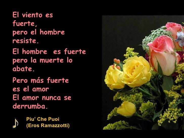 El viento es fuerte, pero el hombre resiste. El hombre  es fuerte pero la muerte lo abate. Pero más fuerte  es el amor El ...