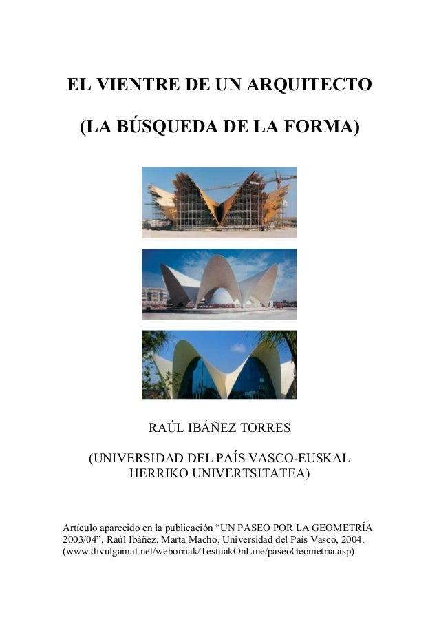 El vientre de un arquitecto - Raul torres arquitecto ...