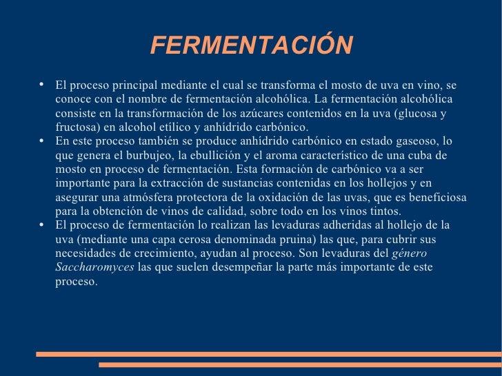 FERMENTACIÓN <ul><li>El proceso principal mediante el cual se transforma el mosto de uva en vino, se conoce con el nombre ...