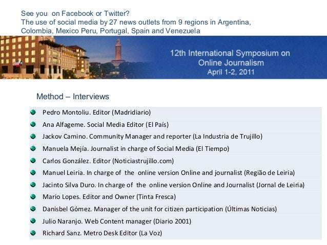 See you on Facebook or Twitter? The use of social media by 27 news outlets from 9 regions in Argentina, Colombia, Mexico P...