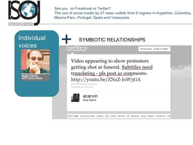 SYMBIOTIC RELATIONSHIPS See you on Facebook or Twitter? The use of social media by 27 news outlets from 9 regions in Argen...