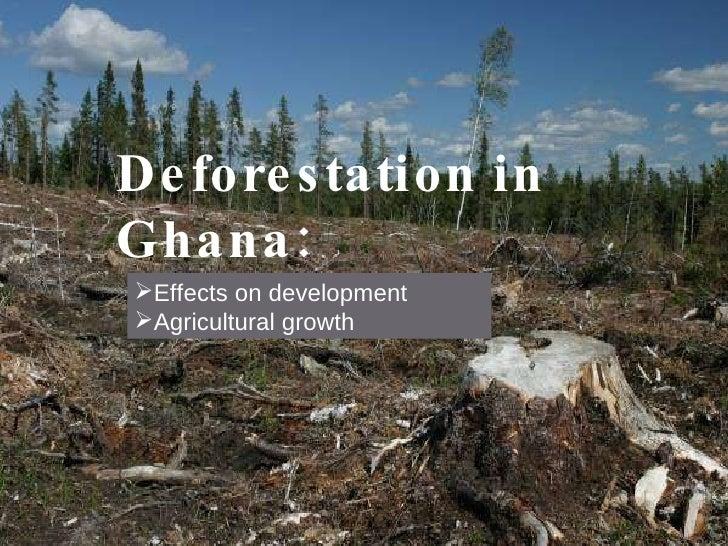 Deforestation in Ghana: <ul><li>Effects on development  </li></ul><ul><li>Agricultural growth </li></ul>