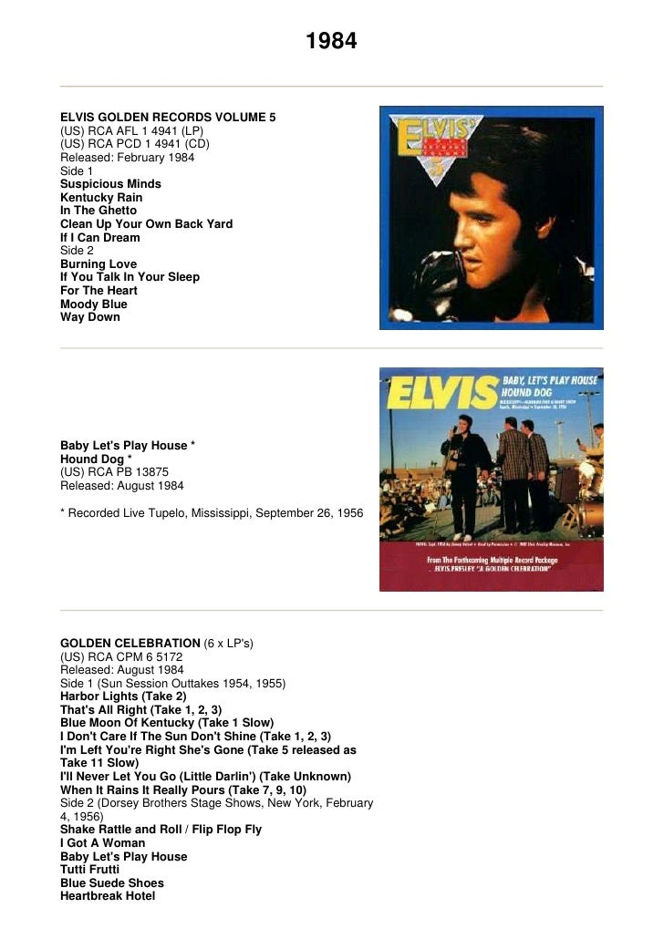 1984   ELVIS GOLDEN RECORDS VOLUME 5 (US) RCA AFL 1 4941 (LP) (US) RCA PCD 1 4941 (CD) Released: February 1984 Side 1 Susp...