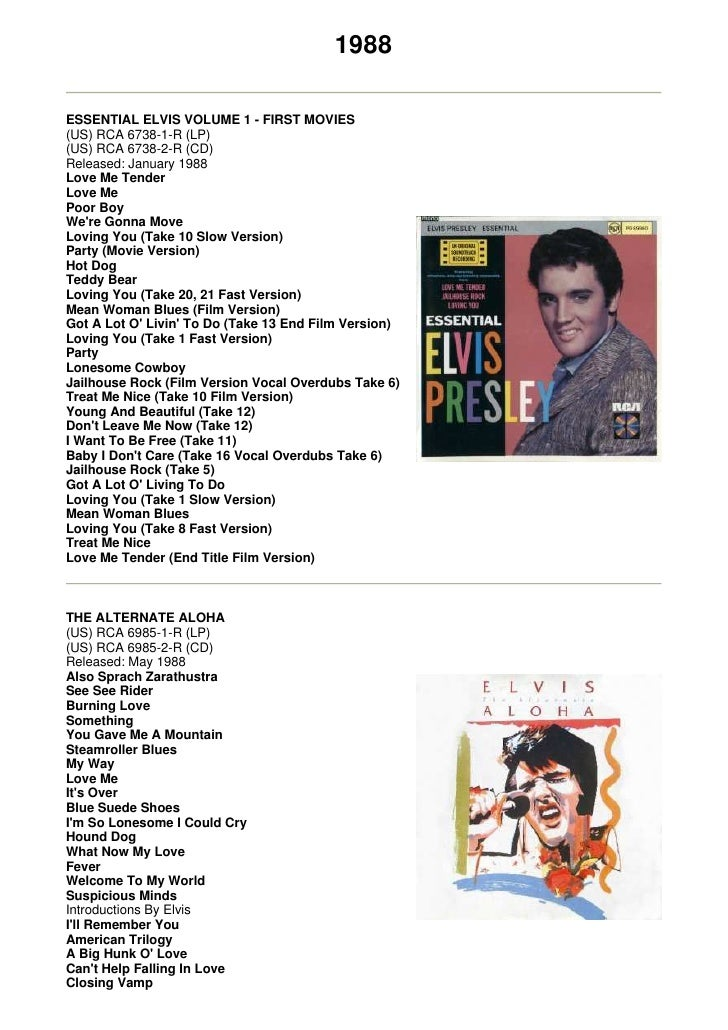 1988  ESSENTIAL ELVIS VOLUME 1 - FIRST MOVIES (US) RCA 6738-1-R (LP) (US) RCA 6738-2-R (CD) Released: January 1988 Love Me...