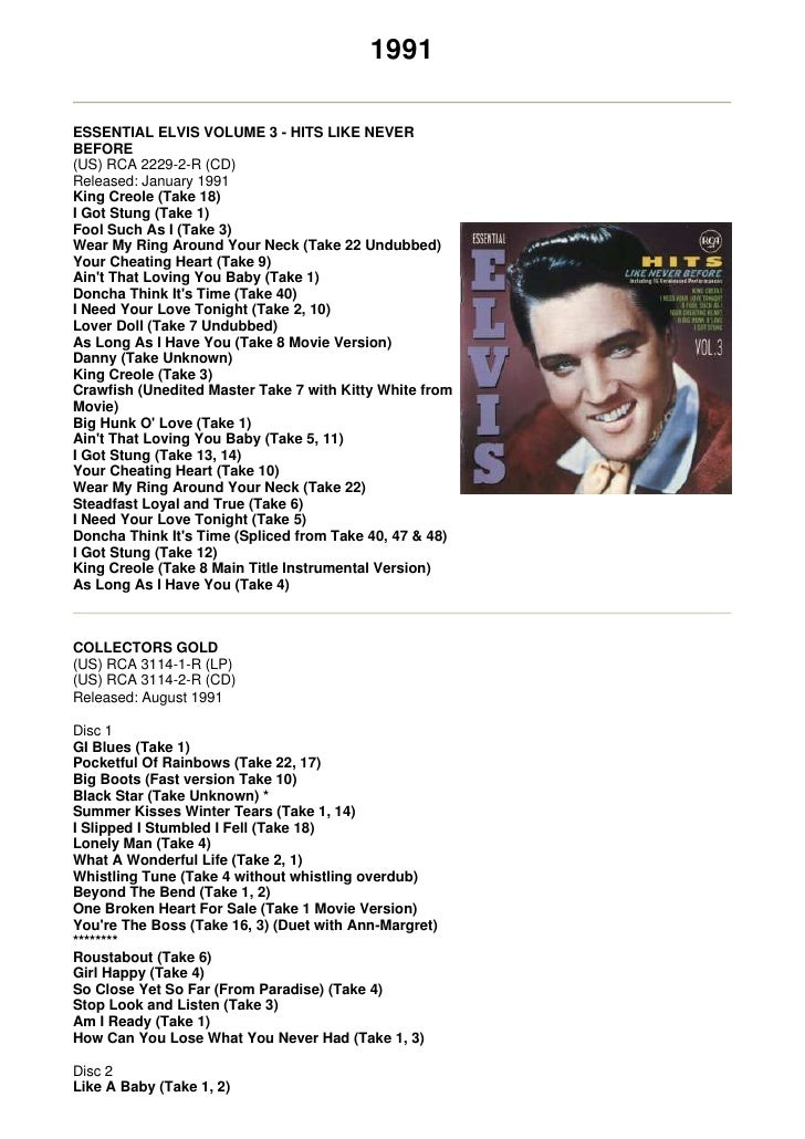 1991  ESSENTIAL ELVIS VOLUME 3 - HITS LIKE NEVER BEFORE (US) RCA 2229-2-R (CD) Released: January 1991 King Creole (Take 18...