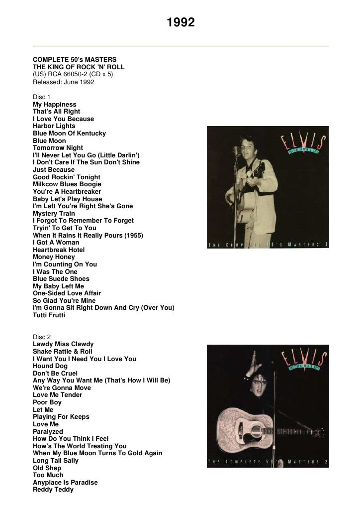 1992  COMPLETE 50's MASTERS THE KING OF ROCK 'N' ROLL (US) RCA 66050-2 (CD x 5) Released: June 1992  Disc 1 My Happiness T...