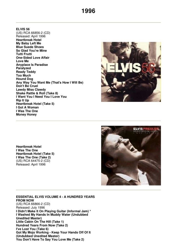 1996  ELVIS 56 (US) RCA 66856-2 (CD) Released: April 1996 Heartbreak Hotel My Baby Left Me Blue Suede Shoes So Glad You're...