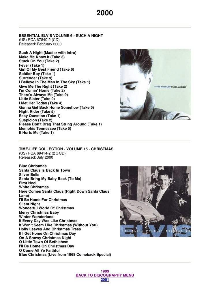 2000  ESSENTIAL ELVIS VOLUME 6 - SUCH A NIGHT (US) RCA 67840-2 (CD) Released: February 2000  Such A Night (Master with Int...