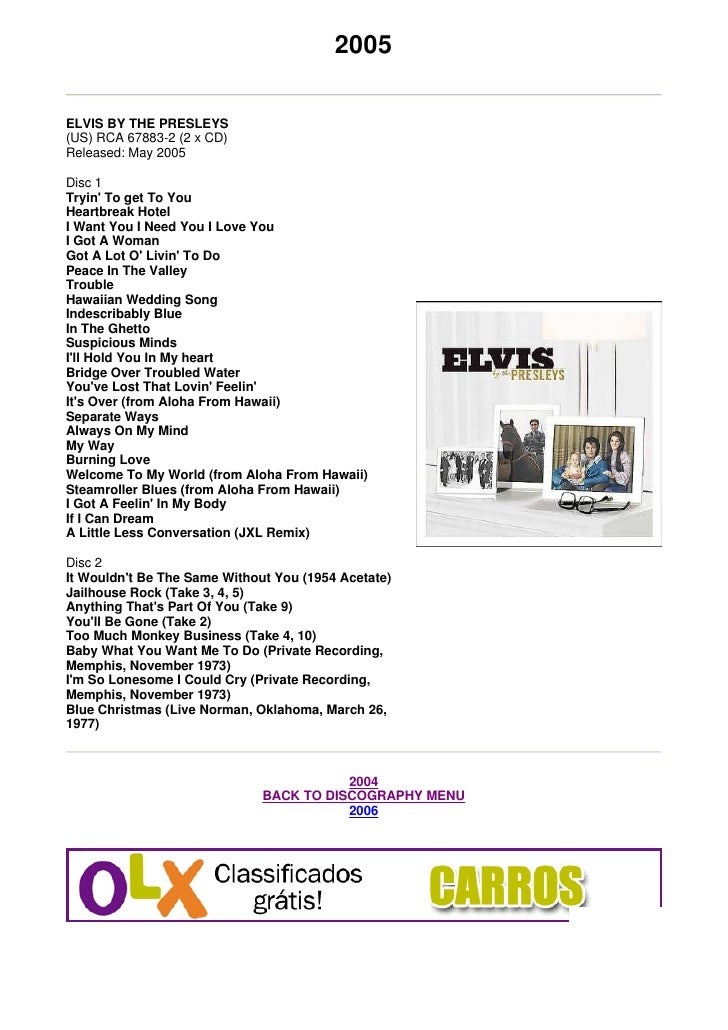 2005  ELVIS BY THE PRESLEYS (US) RCA 67883-2 (2 x CD) Released: May 2005  Disc 1 Tryin' To get To You Heartbreak Hotel I W...