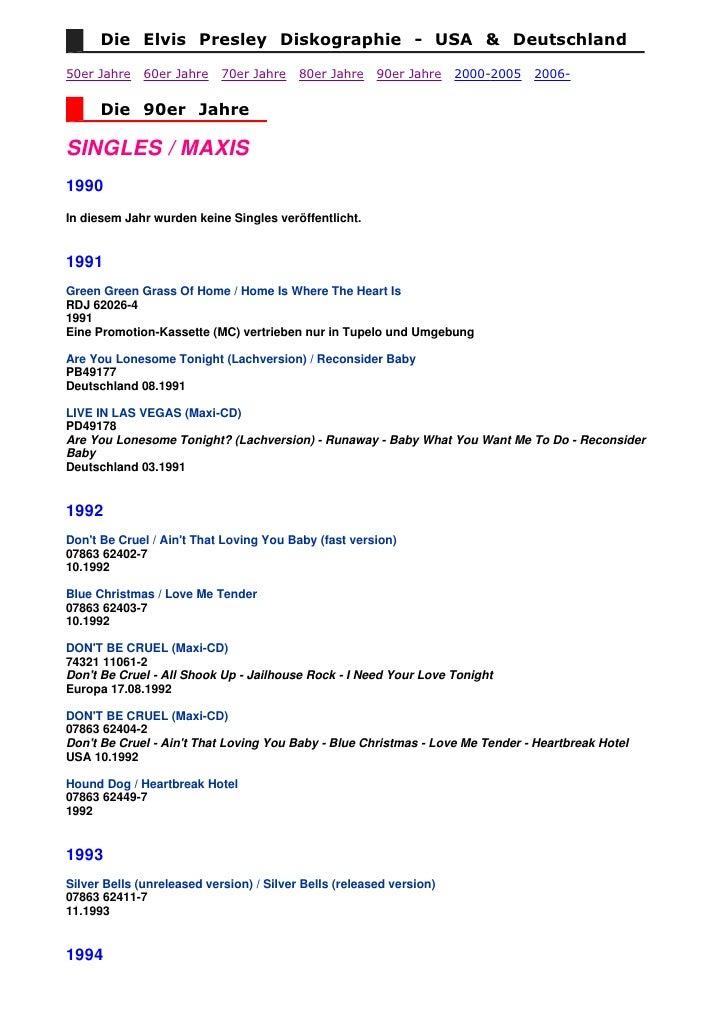 Die Elvis Presley Diskographie - USA & Deutschland  50er Jahre    60er Jahre    70er Jahre    80er Jahre    90er Jahre    ...