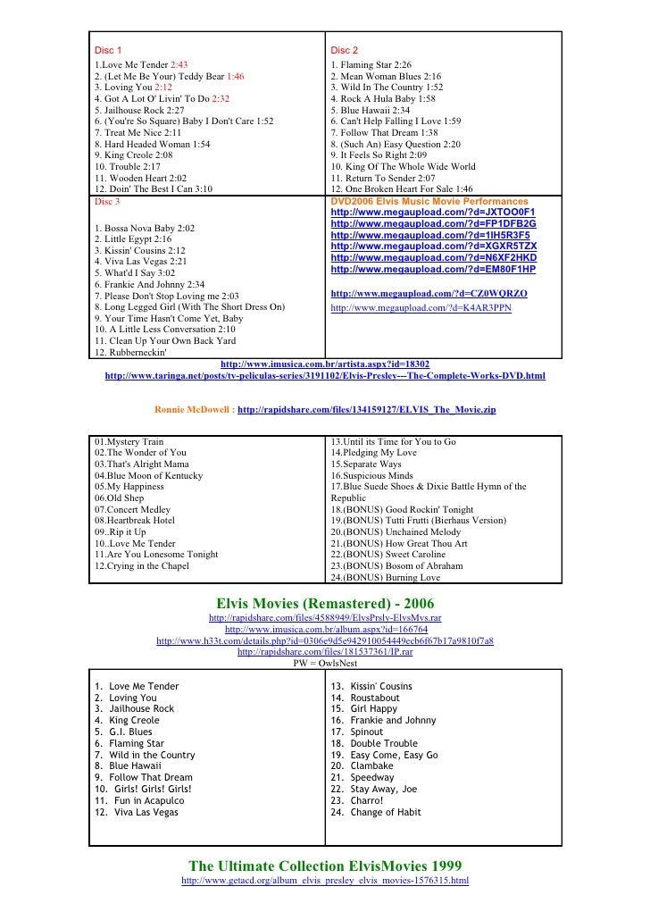 Elvis Presley Original Soundtrack Cd Compilation