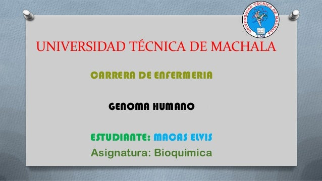 UNIVERSIDAD TÉCNICA DE MACHALA CARRERA DE ENFERMERIA GENOMA HUMANO ESTUDIANTE: MACAS ELVIS Asignatura: Bioquimica