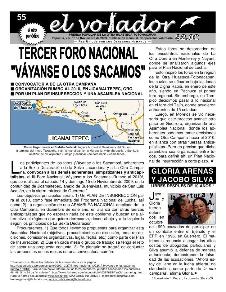PRENSA POPULAR DE LA OTRA HUASTECA-TOTONACAPAN                               Papantla, Ver. 1° de Noviembre de 2009. Publi...