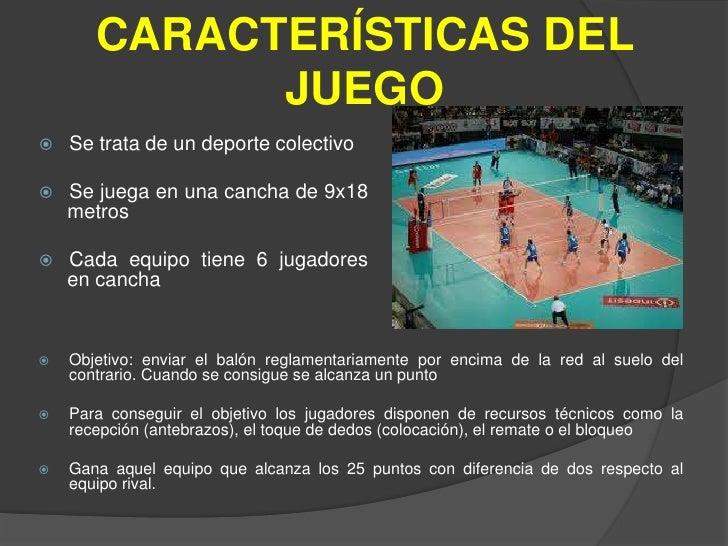 El voleibol for Cuales son las caracteristicas de un mural