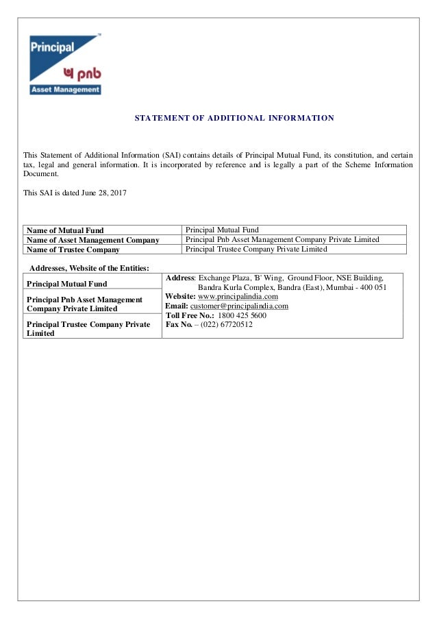 Additional Information of Principal Mutual Fund- Wishfin
