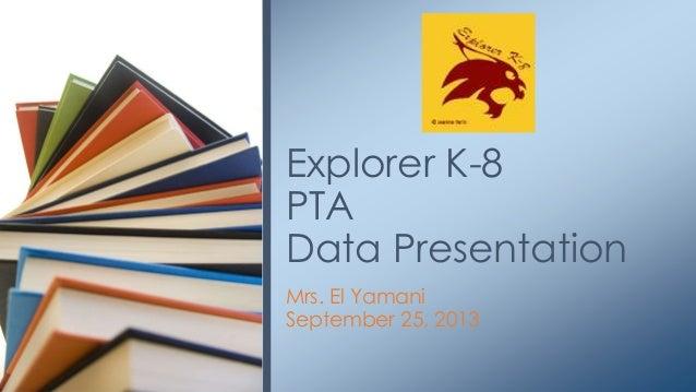 Mrs. El Yamani September 25, 2013 Explorer K-8 PTA Data Presentation