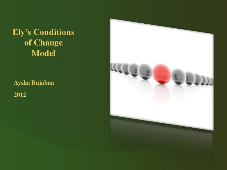 Ely's Conditions   of Change     ModelAysha Bajabaa2012