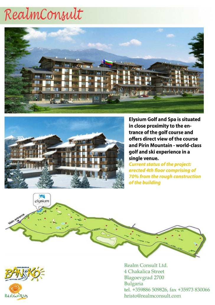 Elysium Hospitality Project for sale in ski and golf resort
