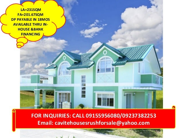 LA=231SQM FA=201.67SQM DP PAYABLE IN 18MOS AVAILABLE THRU INHOUSE &BANK FINANCING  FOR INQUIRIES: CALL 09155956080/0923738...