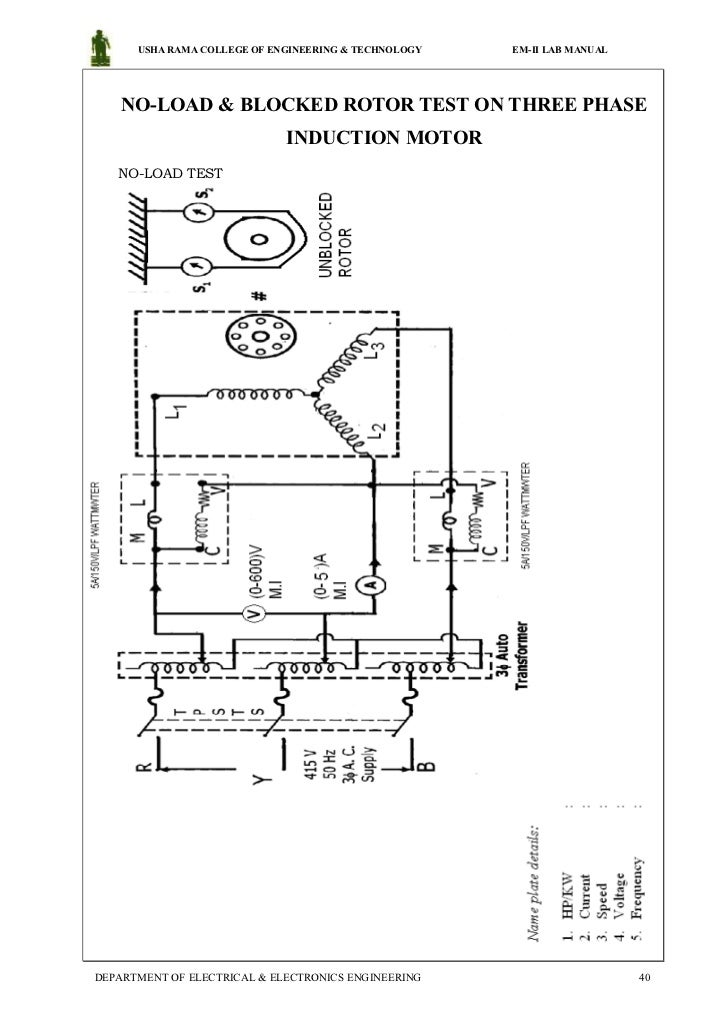 Load test on three phase induction motor circuit diagram for 3 phase induction motor specifications