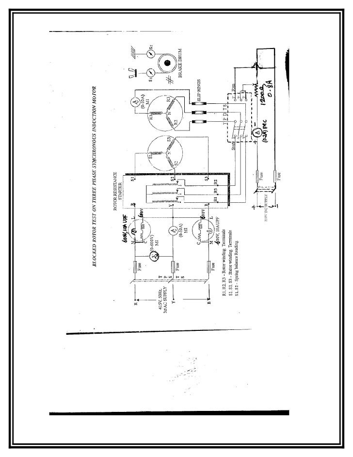 Load Test On 3 Phase Squirrel Cage Induction Motor Circuit Diagram
