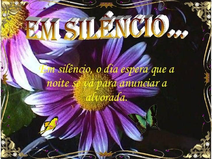 em silêncio... Em silêncio, o dia espera que a noite se vá para anunciar a alvorada.
