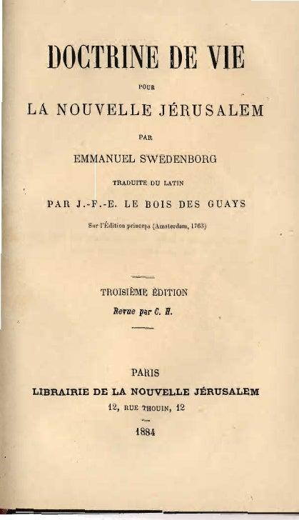 DOCTRINE DE VIE                            POUR   LA NOUVELLE JÉRUSALEM                           PAR         EMMANUEL SWE...