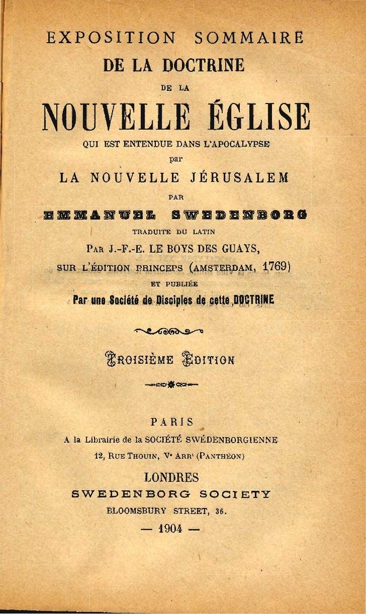 EXPOSITION                        SOMMAIRE             DE LA DOCTRINE                          DE LANOUVELLE ÉGLISE       ...