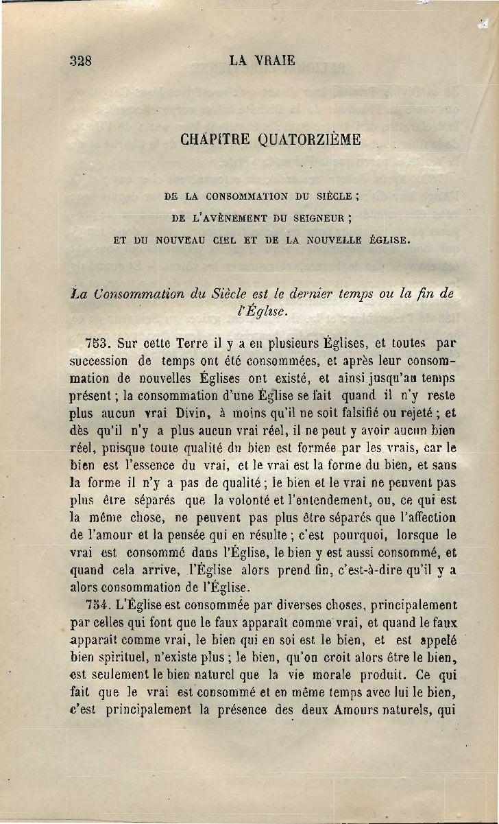 328                          LA VRAIE                    CHÂPITRE QUATORZIÈME                 DE LA CONSOMMATION DU SIÈCLE...