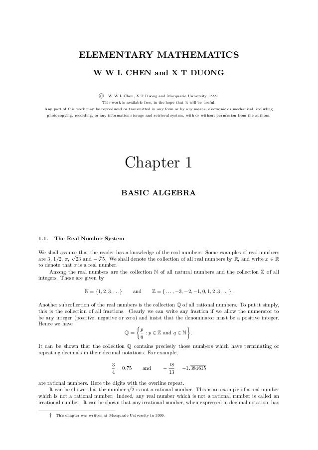 ELEMENTARY MATHEMATICS                              W W L CHEN and X T DUONG                                  c   W W L Ch...