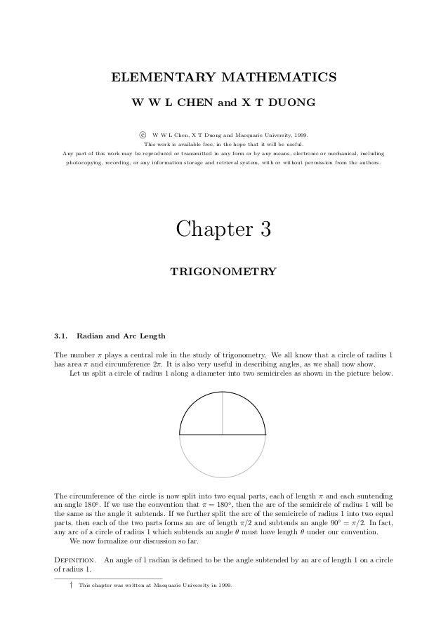ELEMENTARY MATHEMATICS                              W W L CHEN and X T DUONG                                  c   W W L Ch...