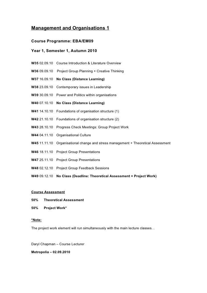 Management and Organisations 1  Course Programme: EBA/EM09  Year 1, Semester 1, Autumn 2010  W35 02.09.10 Course Introduct...