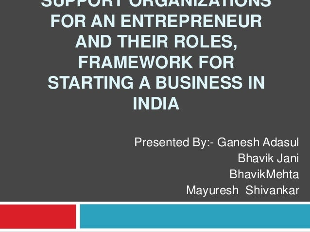 SUPPORT ORGANIZATIONS FOR AN ENTREPRENEUR AND THEIR ROLES, FRAMEWORK FOR STARTING A BUSINESS IN INDIA Presented By:- Ganes...