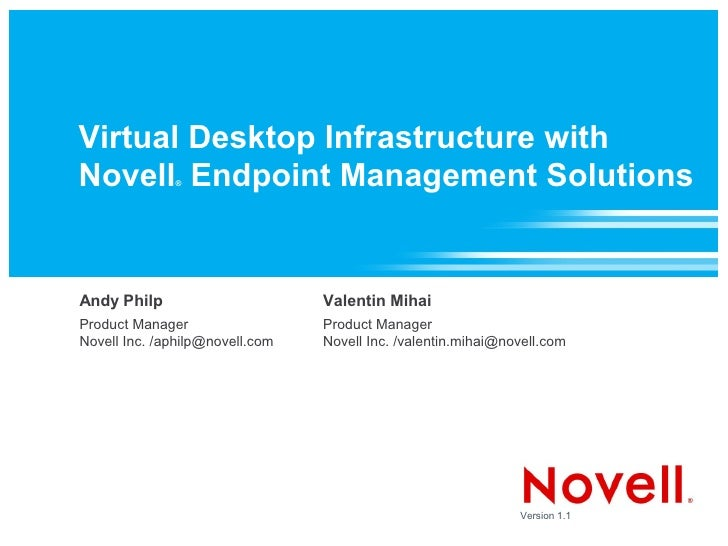Virtual Desktop Infrastructure with Novell Endpoint Management Solutions               ®     Andy Philp                   ...