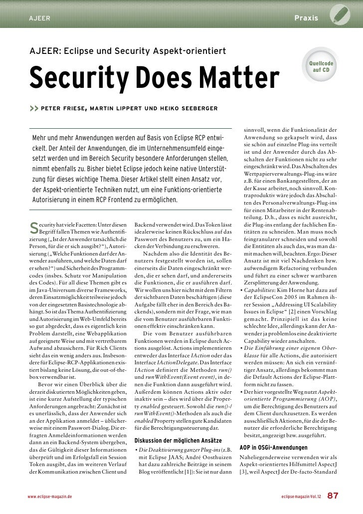 Praxis AJEER    AJEER: Eclipse und Security Aspekt-orientiert   Security Does Matter                                      ...