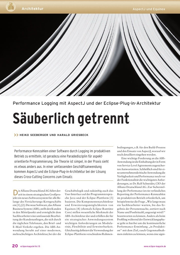 Architektur                                                                                      AspectJ und Equinox     P...