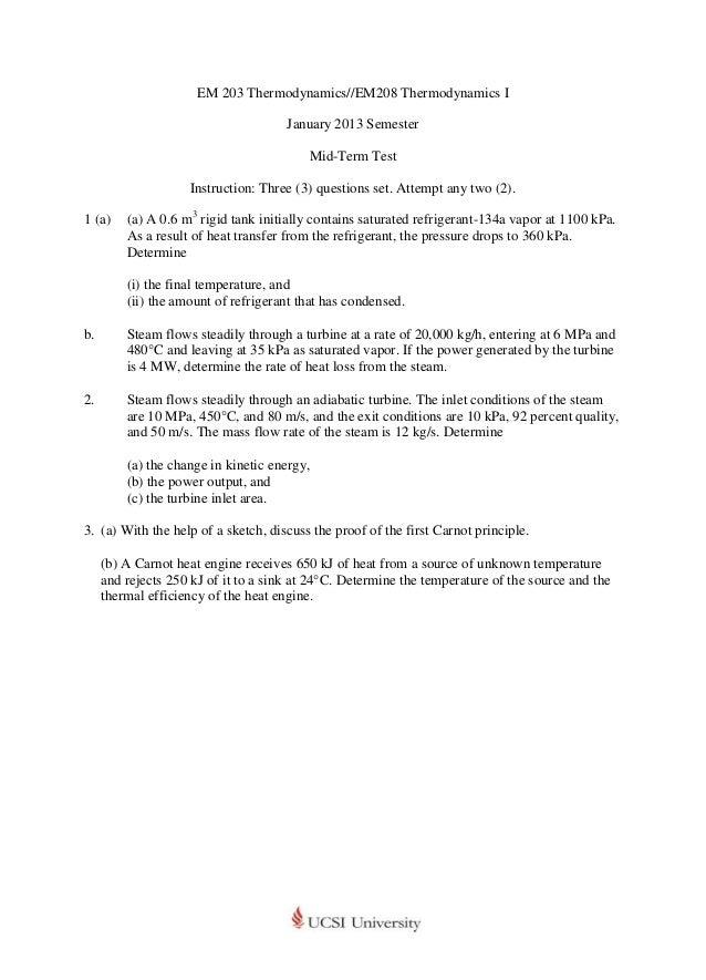 EM 203 Thermodynamics//EM208 Thermodynamics I                                      January 2013 Semester                  ...