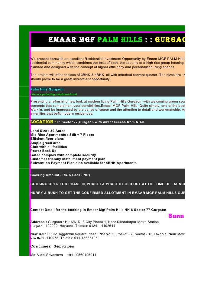 Emaar mgf Palm Hills : : gurgaon : : Proj  We present herewith an excellent Residential Investment Opportunity by Emaar MG...