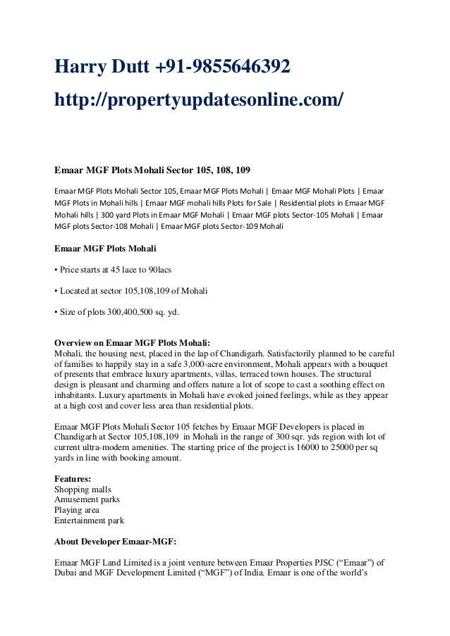 Harry Dutt +91-9855646392 http://propertyupdatesonline.com/  Emaar MGF Plots Mohali Sector 105, 108, 109 Emaar MGF Plots M...