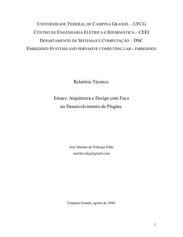 UNIVERSIDADE FEDERAL DE CAMPINA GRANDE – UFCG    CENTRO DE ENGENHARIA ELÉTRICA E INFORMÁTICA – CEEI      DEPARTAMENTO DE S...