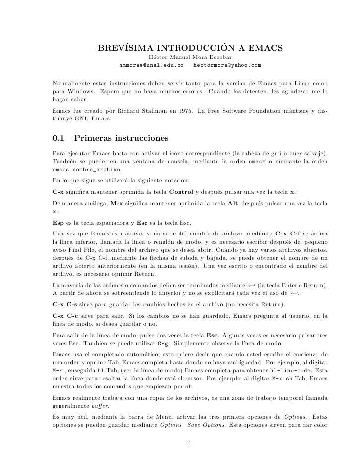 BREV´               ´                     ISIMA INTRODUCCION A EMACS                                  H´ctor Manuel Mora E...