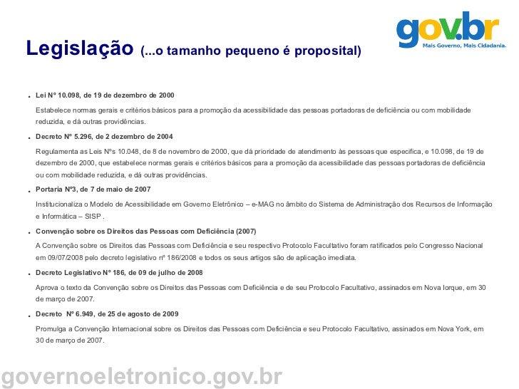 Modelo Brasileiro de Acessibilidade em Governo Eletrônico - e-MAG Slide 2