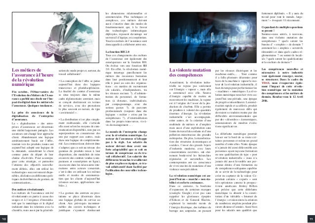 Les métiers de l'assurance à l'heure de la révolution numérique Fin octobre, l'Observatoire de l'Evolution des Métiers de ...