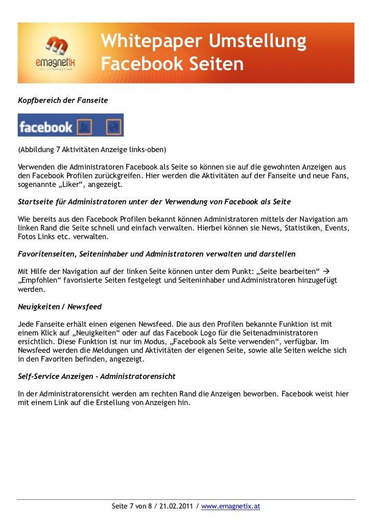 Whitepaper Umstellung                        Facebook SeitenKopfbereich der Fanseite(Abbildung 7 Aktivitäten Anzeige links...