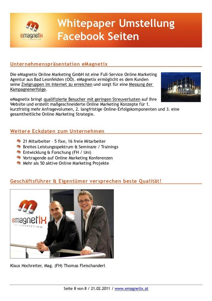 Whitepaper Umstellung                       Facebook SeitenUnternehmenspräsentation eMagnetixDie eMagnetix Online Marketin...