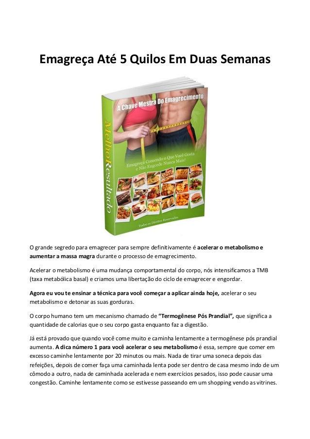 Emagreça Até 5 Quilos Em Duas Semanas O grande segredo para emagrecer para sempre definitivamente é acelerar o metabolismo...