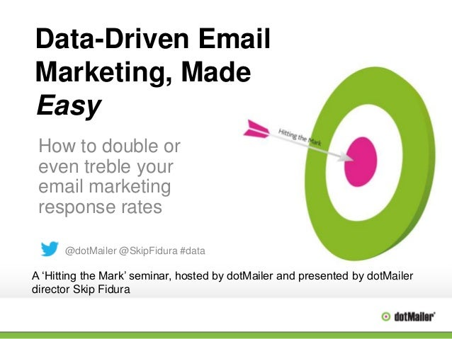 Data-Driven Email Marketing, Made Easy How to double or even treble your email marketing response rates @dotMailer @SkipFi...