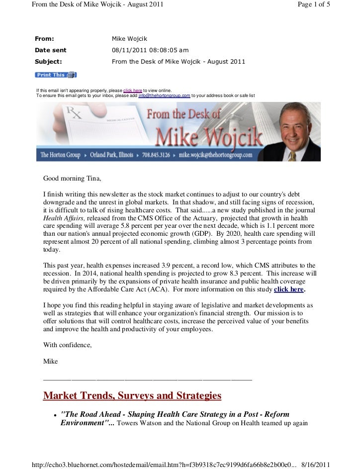 From the Desk of Mike Wojcik - August 2011                                                                       Page 1 of...